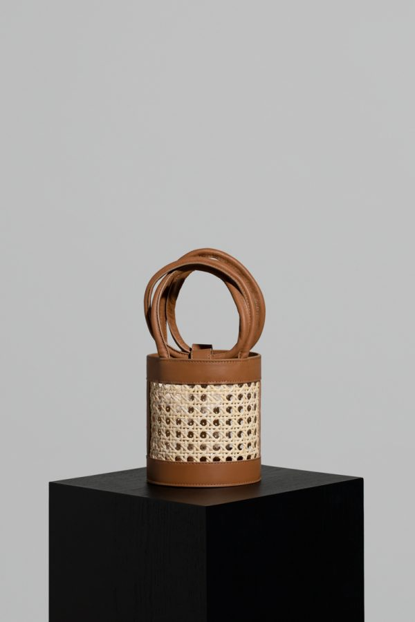 Mini Kyklos Leather Bag in Camel Chair