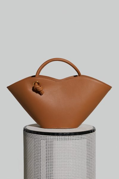 Small Cella Leather Bag in Camel