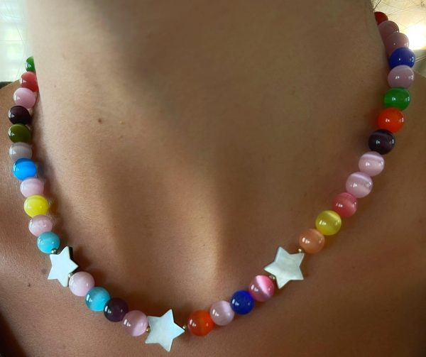 Multicolored Big Beads Stars Necklace