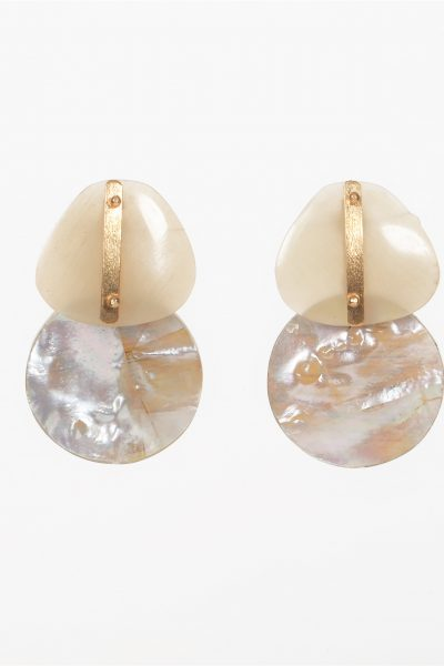 Round Mother of Pearl and Buffalo Horn