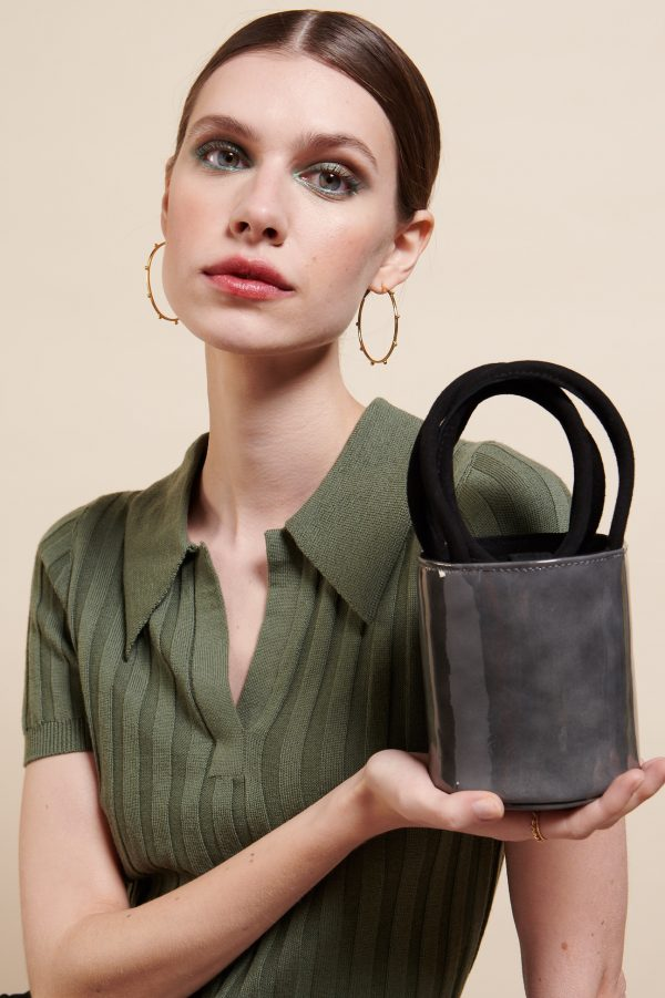 Mini Kyklos Bag in Grey Patent Leather