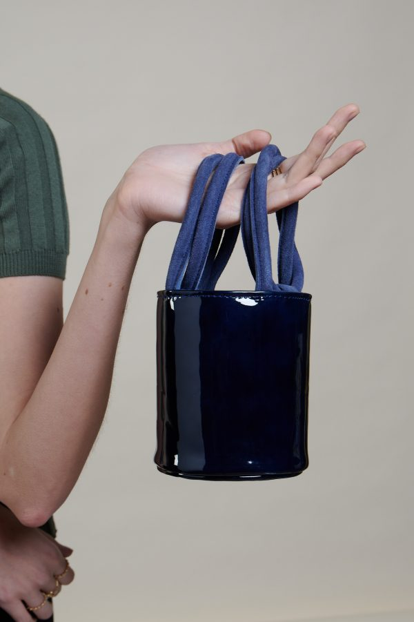 Mini Kyklos Bag in Navy Patent Leather