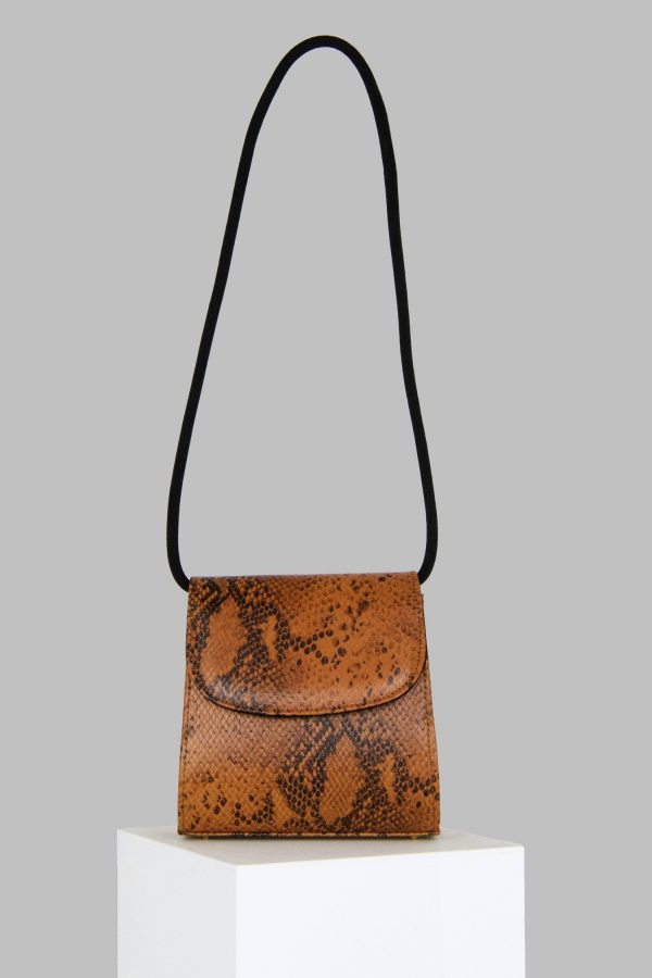 Loop Bag in Snake Embossed Leather with Suede Strap