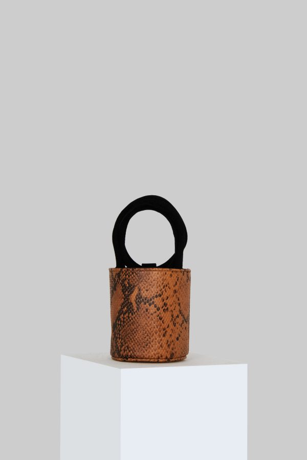 Mini Kyklos Bag in Snake Embossed Leather with Suede handles