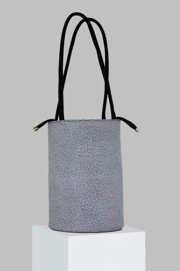 XL Kyklos Bag in White & Black Stingray Embossed Leather