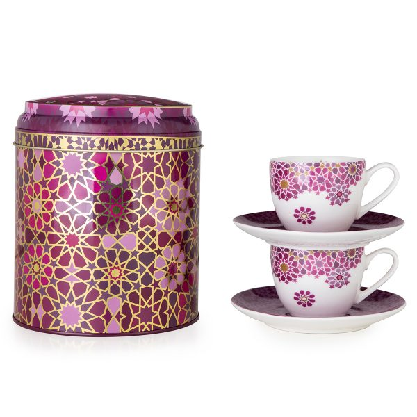 Tin Box With 2 Coffee Cups & Saucer Moucharabieh Parme