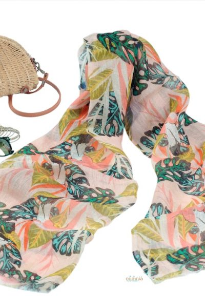 Tropical Leaves On Linen Scarf
