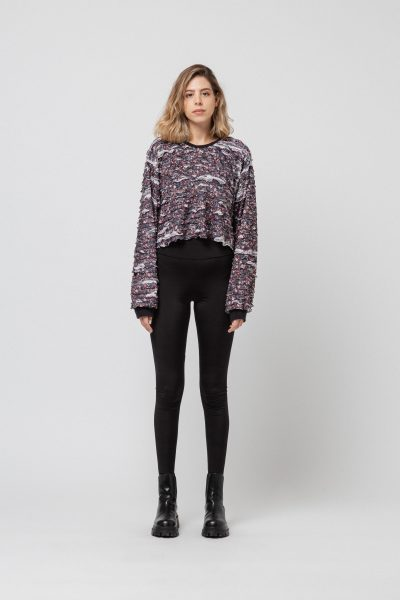 Cropped Frill Flower Sweater
