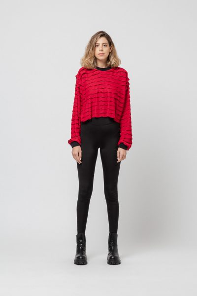 Cropped Frill Red Sweater