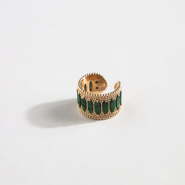 Baalbeck Yellow Gold Green Stone Ring