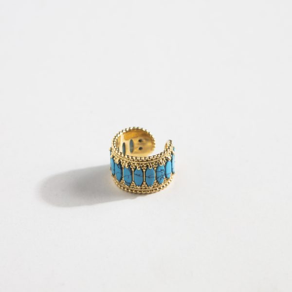 Baalbeck Yellow Gold Light Blue Stone Ring