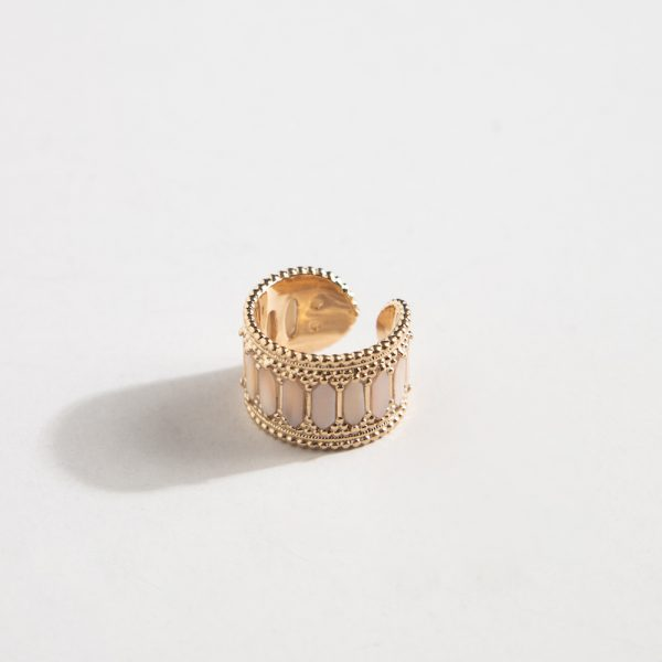Baalbeck Yellow Gold Mother of Pearl Pink Stone Ring