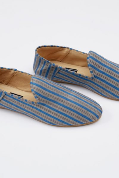 Babouche Liwan Striped Cotton Blue And Silver