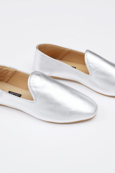 Babouche Liwan Silver Leather